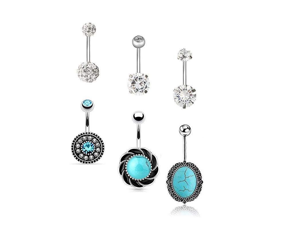COLORFUL BLING 6 PCS 14G Stainless Steel Vintage Blue Belly Button Barbells Rings Set for Women Girl?