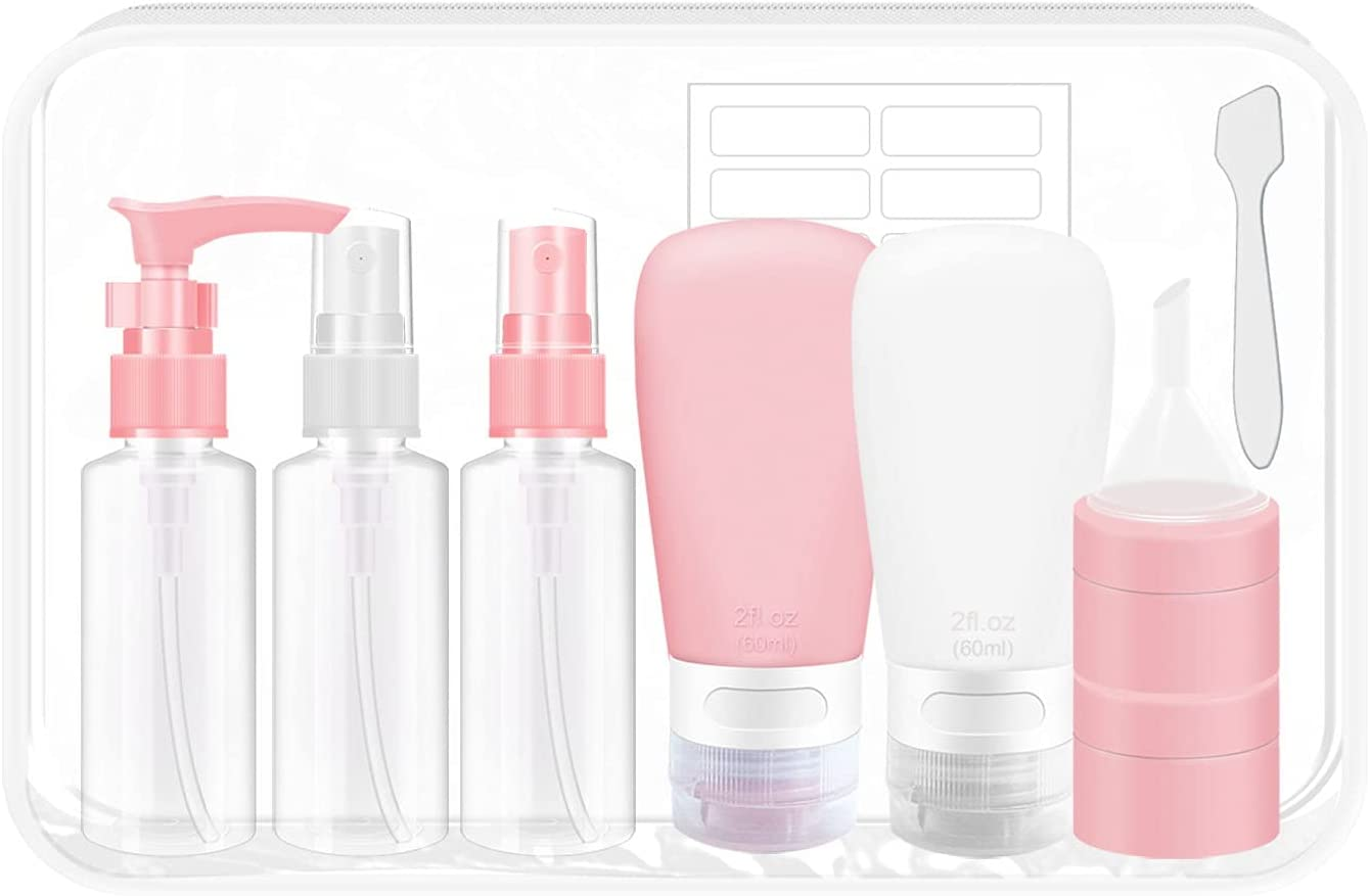 ITATIOLFY Empty travel size bottle set, leak-proof silicone and plastic bottles TSA approved travel container, liquid squeeze bottle, spray bottle, refillable shampoo and body wash travel bottle