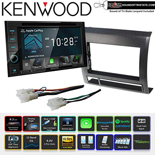 Kenwood DDX5706S DVD Receiver with Installation Kit and Wire Harness for 05-11 Non Amplified Toyota Tacoma (Black) and Sots Lanyard Bundle