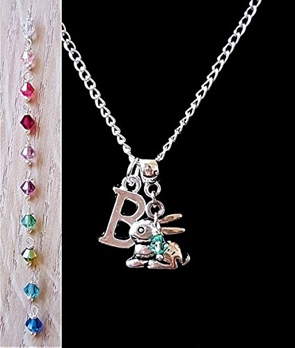 Personalised Initial Easter Bunny Necklace with Genuine Crystal