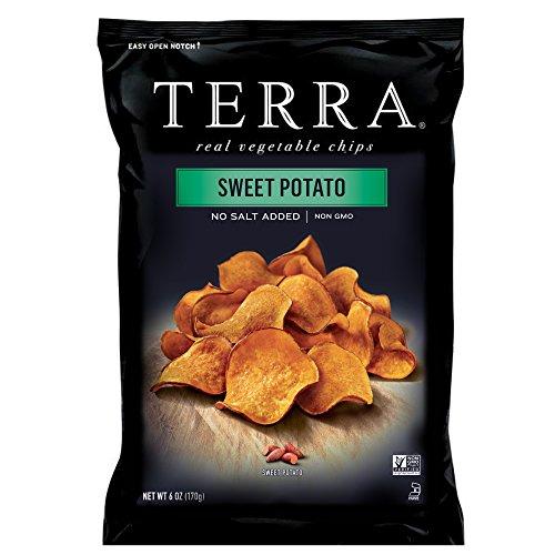 TERRA Sweet Potato Chips, No Salt Added, 6 oz. (Pack of 6)