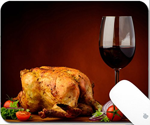 Luxlady Gaming Mousepad 9.25in X 7.25in IMAGE: 24356159 chicken grilled roasted wine red drink food meat traditional served still life glass goblet vegetables poultry salad dinner meal snack tasty d (Meals Poultry)