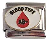 2 Blood Type AB- Negative Medical Italian Charms for Bracelet