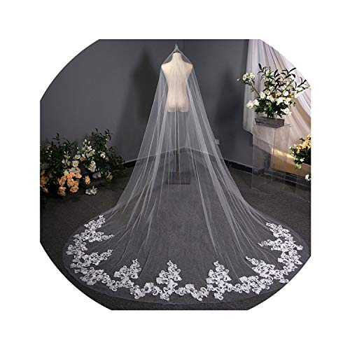 3M Lace Wedding Veil with Comb One Layer Tulle Bridal Veil White Ivory Wedding - Aire Bridal Bel