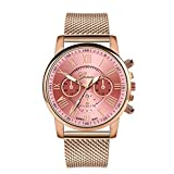 Women's Roman Numerals Casual Wrist Watches with Stainless Steel Milanese Mesh Band by Bravetoshop(Pink)