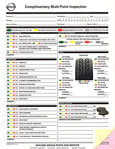 Multi-Point Inspection Forms - Manufacturer Specific - Nissan