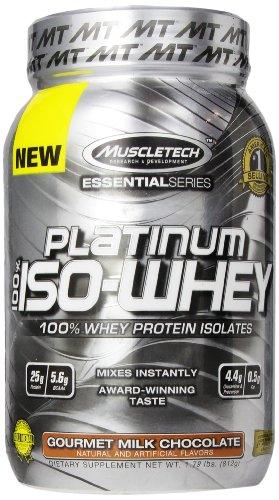 MuscleTech Platinum 100% Supplément ISO lactosérum, Gourmet Chocolat au lait, 1,79 Pound