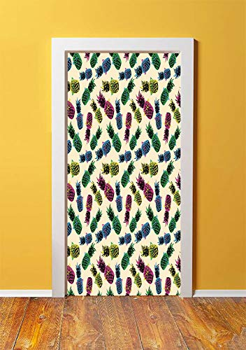 Indie 3D Door Sticker Wall Decals Mural Wallpaper,Retro 80s Summer Pattern Tropical Fruit Pineapple Vintage Glasses in Vibrant Colors,DIY Art Home Decor Poster Decoration 30.3x78.4070,Multicolor -