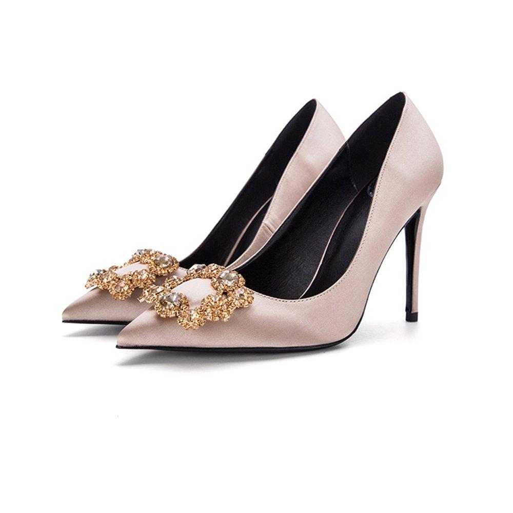 Schuhe 10cm Champagne Brautschuhe, High Heels, feine Ferse Schnalle flacher Mund Satin Strass quadratische Schnalle Ferse einzelne (Farbe : Champagne10cm, größe : 33) Champagne10cm 23b125