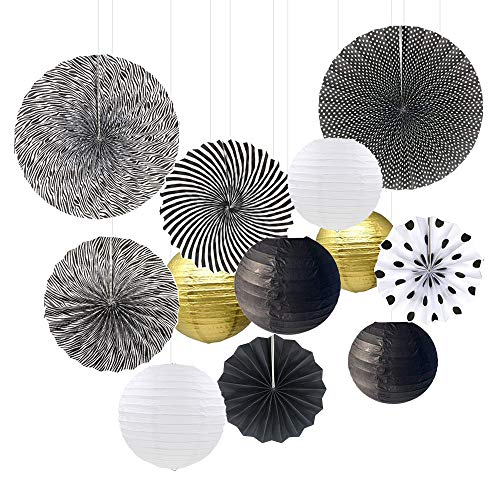 Sonnis 12pcs Hanging Fiesta Paper Fan Lanterns Decoration, Mexican Fiesta/Carnival/Kids Party/Birthday/Christmas Decor,Party/Events Decor, Home Decor Supplies Flavor (coloful-03)]()