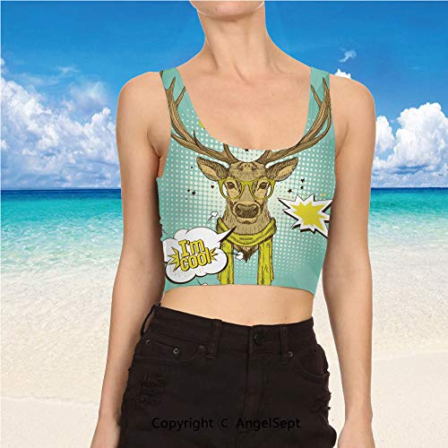 (AngelSept Tank Tops for Women,Yoga Clothes XL,Mint Green Yellow BrownHipster Deer Glasse)