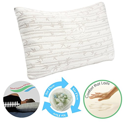 Clara Clark Shredded Memory Foam Gel Fiber-Filled Cool All Side Sleeper Bed Pillow, Queen Size, White, with Rayon Made from Bamboo Washable Hypoallergenic Zippered Removable (Best Clara Clark Bath Pillows)
