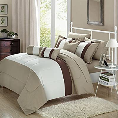 Chic Home Serenity 10-piece Bed in a Bag Comforter Set with 4-piece Sheet Set, Pillow Shams, Decorative Pillows and Sheet Set Included