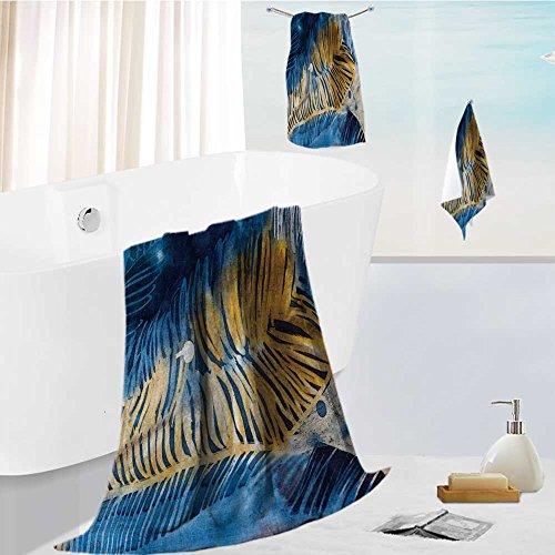 Bath towel set Spa 3D Digital Printing feathers hot batik background texture handmade on silk abstract surrealism art Friendly Non (Feather Batik)