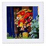 3dRose Danita Delimont - Flowers - Greece, Crete, Chania, Window in Chania - 14x14 inch quilt square (qs_277430_5)