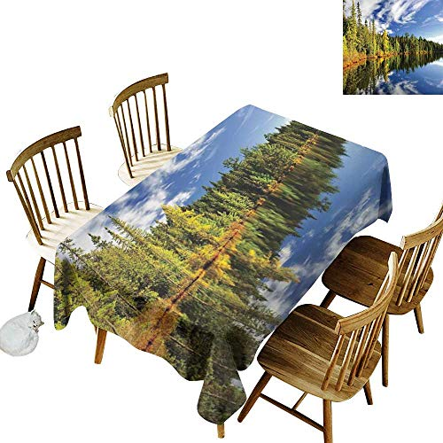 W Machine Sky Waterproof Tablecloth Landscape Forest Reflecting on Calm Lake Shore at North Canada Universe Art Print W70 xL90 for Family Dinners,Parties,Everyday Use - Shore Marble North