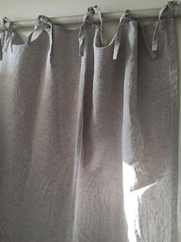 Top ties pure linen curtain panel, in natural linen color, multiple height options