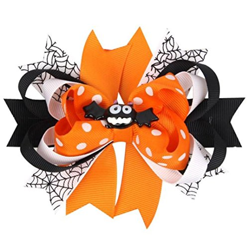[Charberry Cute Baby Girls Bowknot Hairpin Headdress Halloween Decor (Orange)] (Horror Makeup Value Kit)