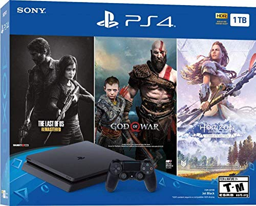 PlayStation 4 Slim 1TB Only on PlayStation Console Bundle   Bundle : God of War Game Voucher,Horizon Zero Dawn: Complete Edition Voucher,The Last of Us Remastered Game   Jet Black