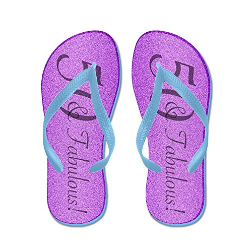 Cafepress 50th Birthday Fabulous - Chanclas, Sandalias Thong Divertidas, Sandalias De Playa Caribbean Blue