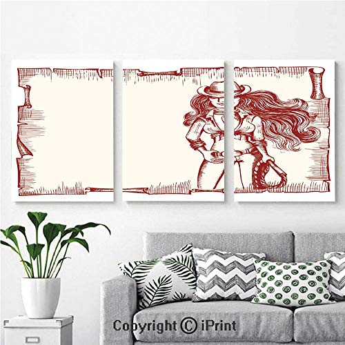 Modern Gallery Wrapped Canvas Print Sexy Young Cowgirl with Lasso Old Paper Style Background Hairstyle Vintage Frame 3 Panels Pictures on Canvas Wall Art Ready to Hang for Living Room Kitchen Home De