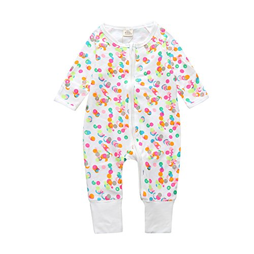 Baby Boys Girls Sleepwear Autumn Long Sleeve Bamboo Print Zipper Pajamas ()