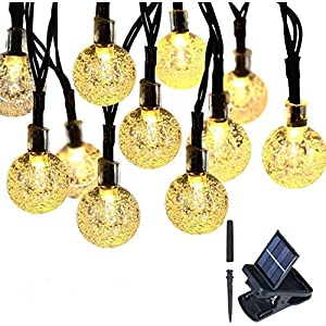 2021 Upgraded Version Globe Solar String Lights 60 Led 32 ft Outdoor Bulb String Lights Waterproof for Patio Lawn Garden…