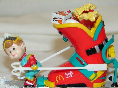 Downhill Delivery McDonald's Food in Ski Boot 1996 Enesco Christmas ornament