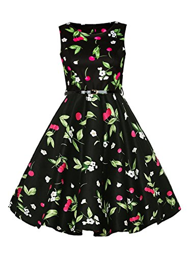 imimimomo Women's Vintage 1950's Floral Spring Garden Rockabilly Swing Prom Party Cocktail Dress (Black, - Vintage 1950