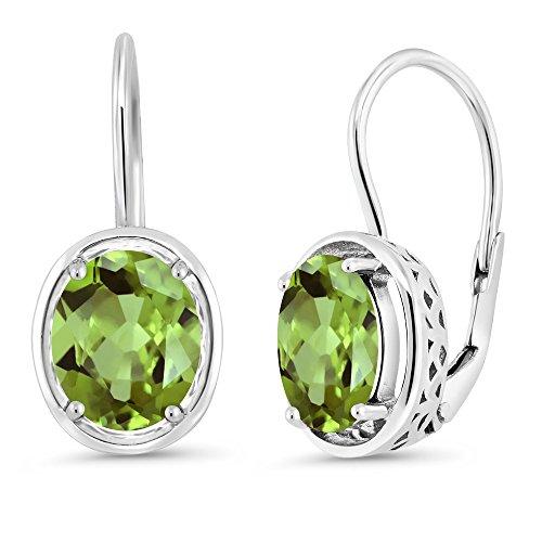 Gem Stone King 3.60 Ct Oval Green Peridot 925 Sterling Silver Dangle Earrings
