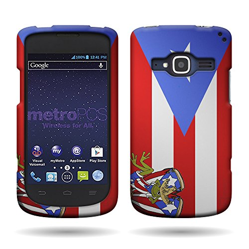 ZTE Concord II [Hard Plastic Snap On] [Country Design Case] by CoverON for ZTE Concord II Z730 with [Cover Removal Pry Tool], (Puerto Rico Flag) (Flag Plastic Hard Case)