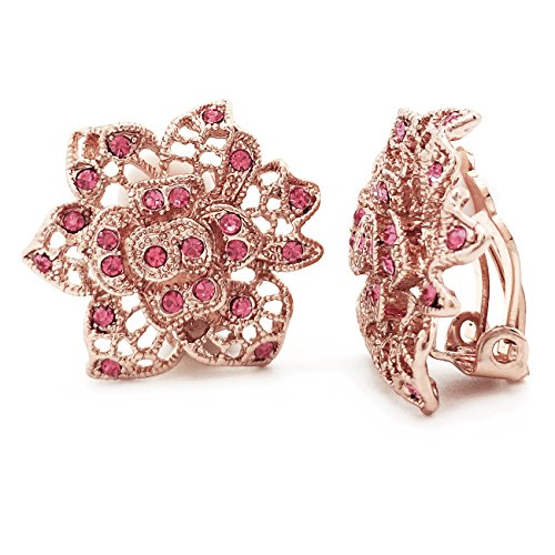 Sparkly Bride Clip On Earrings Flower Pink Crystal Filigree Rose Gold Plated