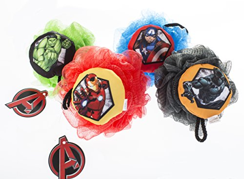 Marvel Avenger's Superhero Children's Large Shower Sponge Pouf (4 Pack) - Bath Loofah Luffa Loufa - Mesh Back and Body Scrubber - Exfoliate, Cleanse and Soothe Skin - Fun Kids Set for Boys and Girls by Bradford Soap