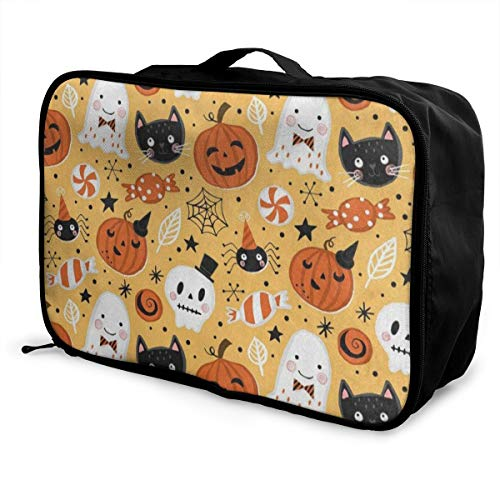 Lightweight Large Capacity Portable Luggage Bag Halloween Holiday Ghost Pumpkin Bat Foldable Storage Carry Sport Gym -