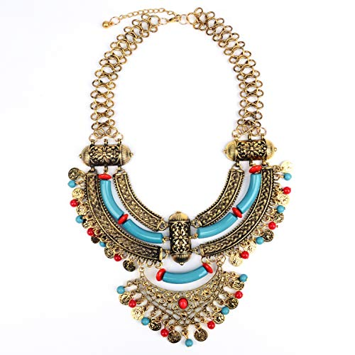 Paxuan Womens Antique Silver/Gold Alloy Vintage Boho Bohemia Turquoise Necklace Ethnic Tribal Beaded Coin Choker Necklace Chunky Statement Necklace (Antique Gold)