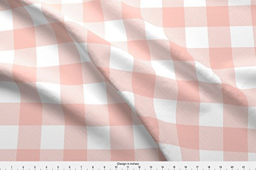 Spoonflower Buffalo Check Fabric Buffalo Check in Blush Pink and White by Hipkiddesigns Printed on Basic Cotton Ultra Fabric by The Yard