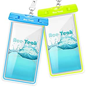 Waterproof Case, 2 Pack Ace Teah Clear Universal Waterproof Case, Dry Bag, Pouch, Transparent Snowproof Dirtproof for iPhone 8 7 6 6S Plus X SE 5S 5C, Samsung Galaxy S8, S7 S6 edge , - Blue, Green