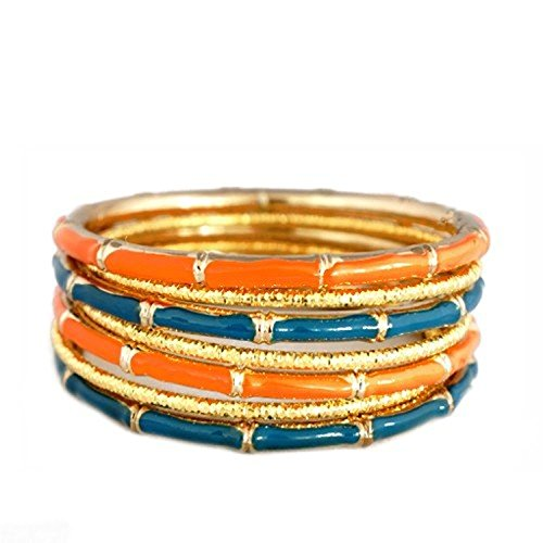 (Jewelry11® Women's Fashion Teal & Coral Mixed Enamel Bamboo Design w/ Gold Textured Bangles, Set Of 7Pcs Gift For Her)