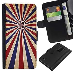 // PHONE CASE GIFT // Moda Estuche Funda de Cuero Billetera Tarjeta de crédito dinero bolsa Cubierta de proteccion Caso LG G3 / PSYCHEDELIC BLUE RED STRIPES /