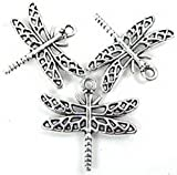 Burts Beads - 15 Silver Pewter Dragonfly Charm Pendant 23x26mm Lead-Free NJOY12990