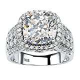 Cushion-Cut White Cubic Zirconia Halo Engagement Ring in Platinum over .925 Sterling Silver