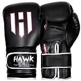 Hawk Boxing Gloves for Men & Women Training Pro Punching Heavy Bag Mitts UFC MMA Muay Thai Sparring Kickboxing Gloves, 1 Year Warranty!!!! (Black, 8 oz)