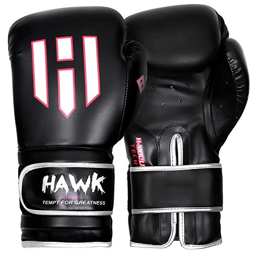 (Hawk Boxing Gloves for Men & Women Training Pro Punching Heavy Bag Mitts UFC MMA Muay Thai Sparring Kickboxing Gloves, 1 Year Warranty!!!! (Black, 8 oz))