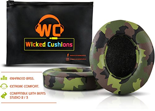 Price comparison product image Upgraded Beats Replacement Ear Pads By Wicked Cushions - Compatible with Studio 2.0 Wired / Wireless AND Studio 3 Over Ear Headphones by Dr. Dre ONLY ( DOES NOT FIT SOLO ) - Green Camouflage