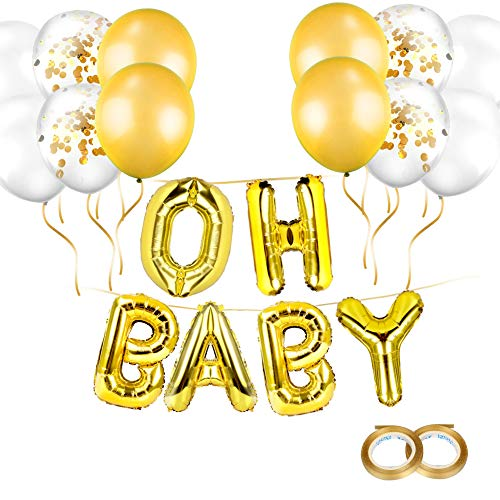 Oh Baby Boy Letters - Gold OH Baby Letter Balloons(16 Inch), Mylar Foil Letter Balloons for Baby Girl Shower Decorations Backdrop,Extra Pack of 12 Latex Balloons(Gold,Confetti,White)& String (Gold)