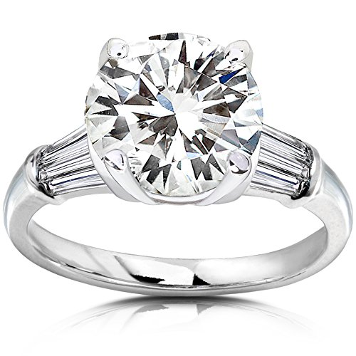 Round Moissanite Engagement Ring with Diamond 3 3/4 CTW 14k White Gold