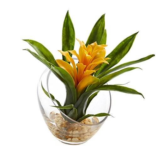 Nearly Natural Tropical Bromeliad in Angled Vase, 8