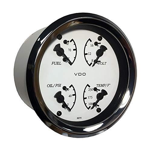 (Vdo Allentare 4 In 1 Gauge - 85mm - White Dial/Black Pointer - Oil Pressure, Water Temp, Fuel Level, Voltmeter - Chrome Bezel)