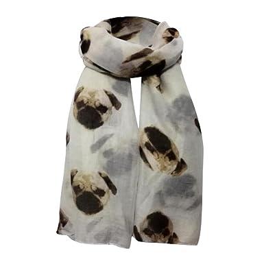 Écharpes châle foulards HUHU833 Femmes mode impression Chiot longue écharpe  châle Automne Hiver (Blanc) 5c2be34b33b