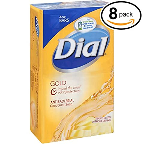 (PACK OF 8 BARS) Dial Classic GOLD Antibacterial Bar Soap. Round the Clock Odor Protection. Leaves Skin Smooth & Radian! Hypo-Allergenic. Great for Hands, Face & Body! (8 Bars, 4oz Each (Dial Bar Gold)